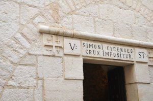 Station 5 in Jerusalem - Simon of Cyrene carries the cross